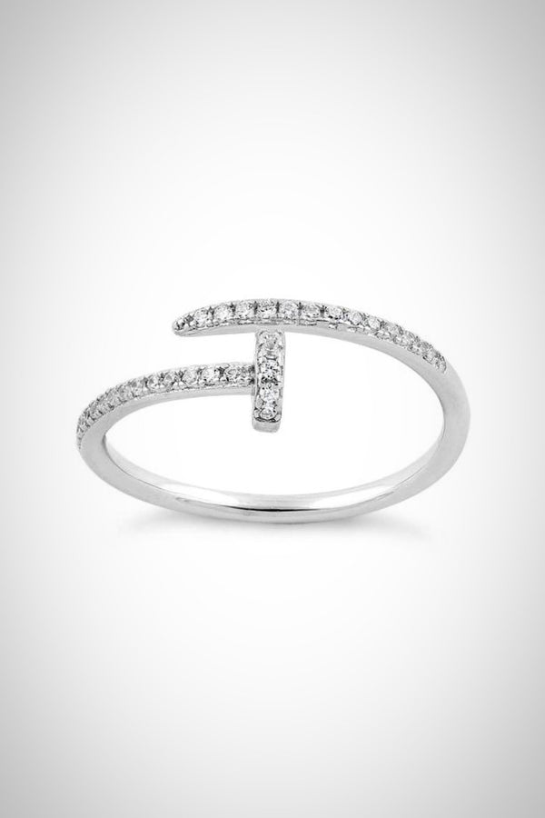 Sterling Nail It CZ Ring