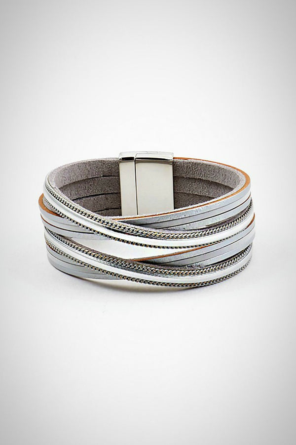 Silver Criss-cross Leather Bracelet