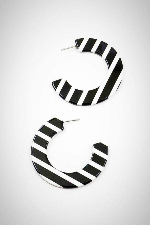 Oreo Striped  Resin Earrings