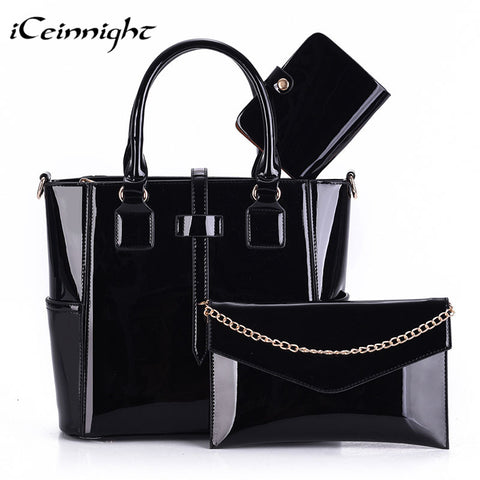 3 Set Composite bag female high quality PU leather patent women handbag fashion solid black Messenger bolsa feminina