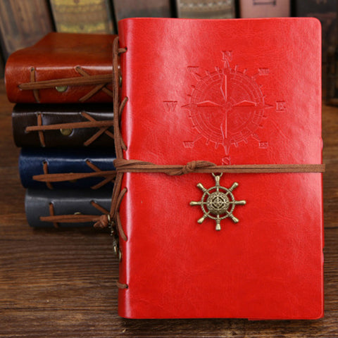 Spiral Notebook DIARY Notepad Vintage Pirate Anchors PU Leather Note Book Replaceable Stationery Gift Traveler Journal
