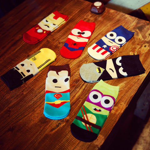 36-43 Summer Men Harajuku Socks Hip Hop Ninja Batman Superman SpiderMan Captain America Avengers Short Novelty Sokken