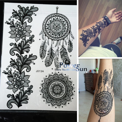 Hot Dreamcatcher Large Indian Sun Flower Henna Temporary Tattoo Black Mehndi Feather Style Waterproof Tattoo Sticker 1PC