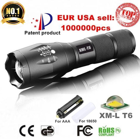 E17 XM-L T6 3800LM Aluminum Waterproof Zoomable CREE LED Flashlight Torch light for 18650 Rechargeable Battery or AAA
