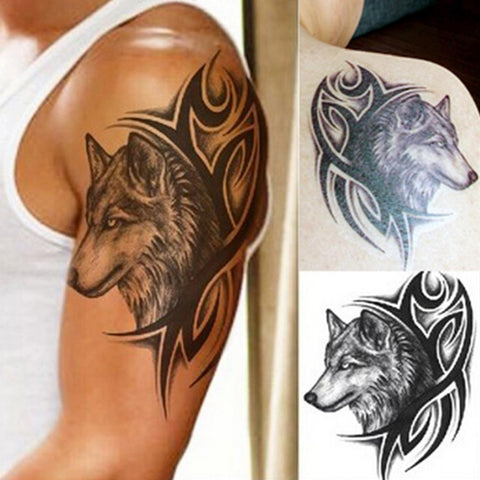 Water Transfer fake tattoo Waterproof Temporary Tattoo sticker men women wolf tattoo flash tattoo 1pcs 12*19cm