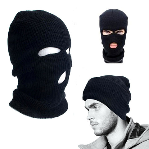 Full Face Cover Ski Mask 3 Hole Balaclava Knit Hat Winter Stretch Snow mask Beanie male men Motorcycle Balaclava