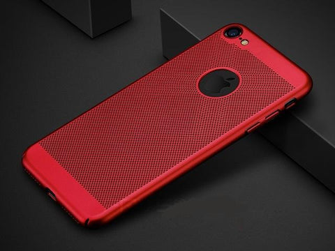 CASES For iPhone 5 5S SE 6 6s Plus 7 X Plus Fashion Red Hard Matte Breathable Cooling Summer Full Case Cover
