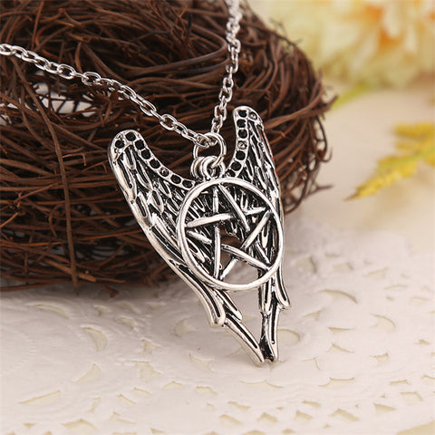 Supernatural necklace pentagram Pentacle Castiel angel wings vintage antique silver pendant jewelry Unisex
