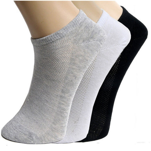 Men Socks Brand Quality Polyester Casual Breathable 3 Pure Colors Socks Calcetines Mesh Short Boat 5 Pairs