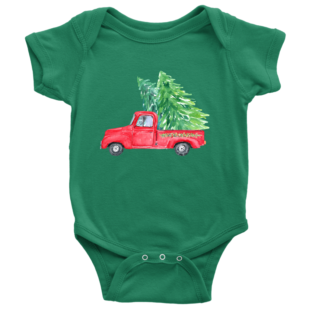 Christmas Tree Onesie.Baby Onesie Vintage Truck Christmas Tree Coco Couture Co