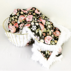 Buddha Blankie (Ready to Ship)- Watercolor Floral in Grey