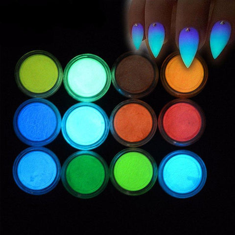 12 Colors Nail Polish Glow Powder