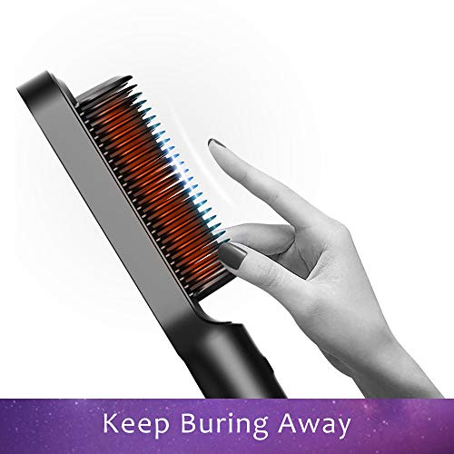 Hair Straightener Brush with Built-in Comb