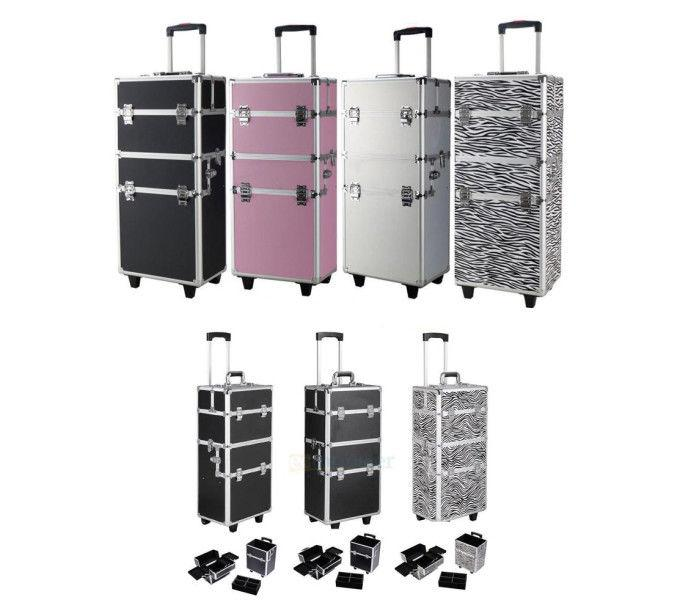 Professional 3 in 1 Aluminum Rolling Makeup Cosmetic Train Case