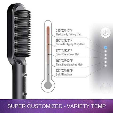 Image of Hair Straightener Brush with Built-in Comb