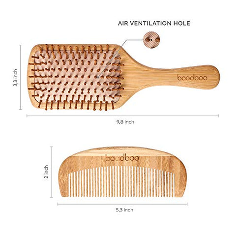 Natural Wooden Paddle Hair Brush And Comb