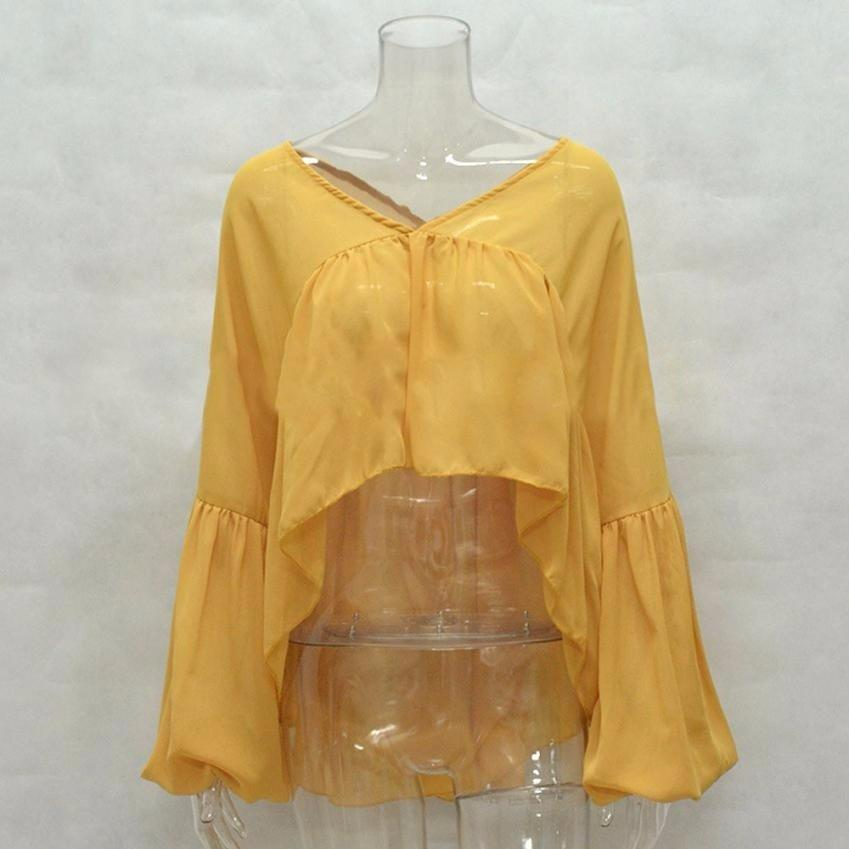 Women's Chiffon Long Sleeve V Neck Blouse