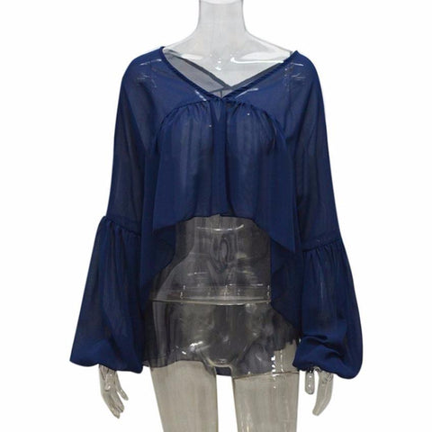 Image of Women's Chiffon Long Sleeve V Neck Blouse