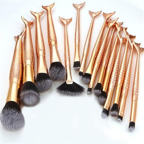 Gold & Black Mermaid MakeUp Brush Set - 15PCS