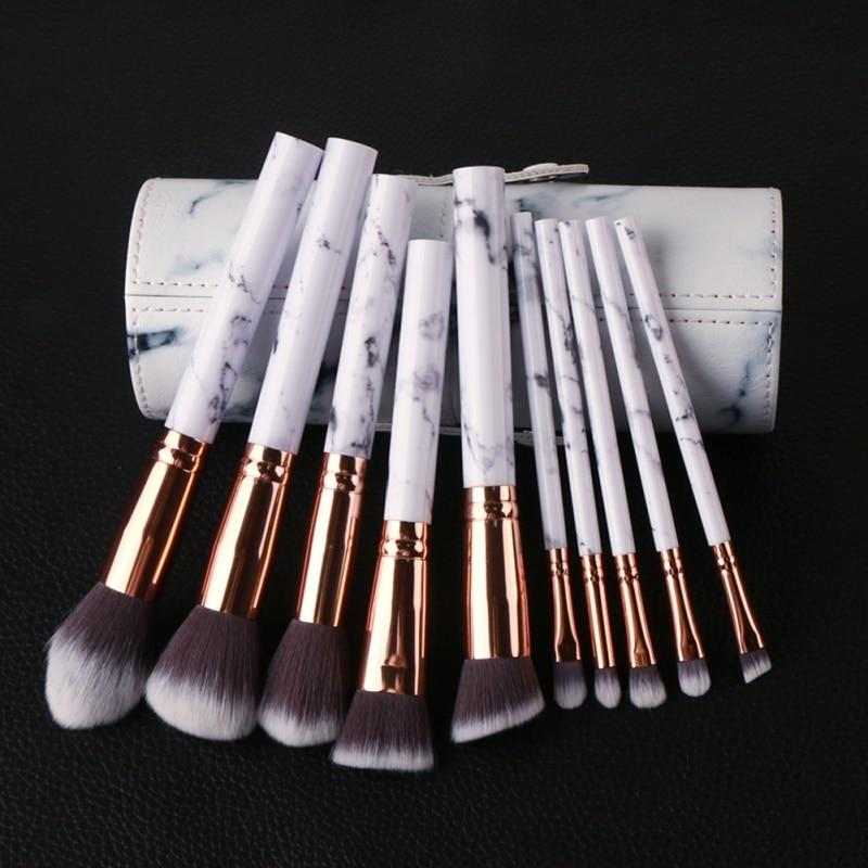10pc Professional Marble Print Makeup Brush Set