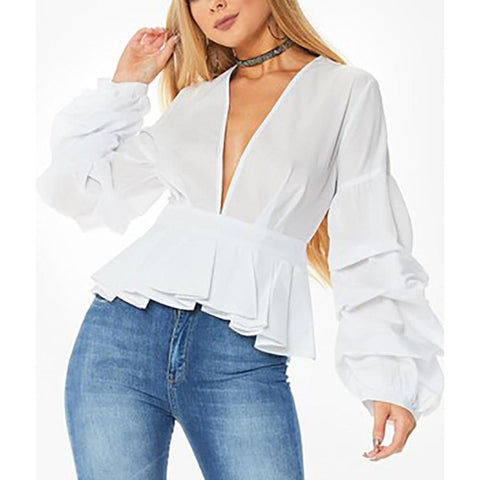 Image of Women's Deep-V-Neck Puff Sleeve Peplum Blouse