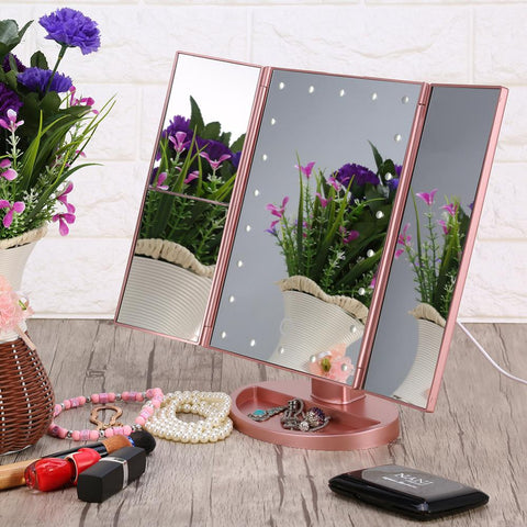 Image of Folding Touchscreen 3-Panel LED Makeup Magnifying Mirror