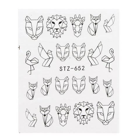 HIGH DEFINITION WATER NAIL DECALS HOLLOW DESIGNS- 1 SHEET