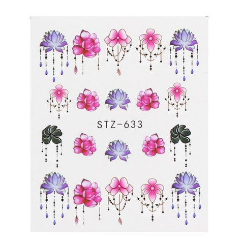 Image of HIGH DEFINITION WATER NAIL DECALS HOLLOW DESIGNS- 1 SHEET