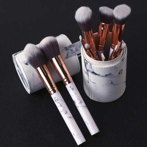 Image of 10pc Professional Marble Print Makeup Brush Set