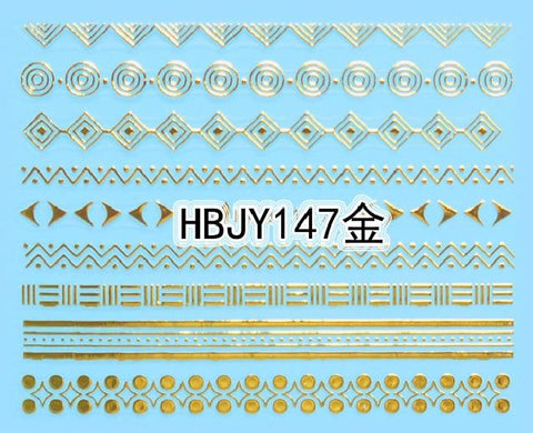Image of 1pc Gold Lace Ethnic 3D Designs Nail Art Stickers for Nails Decals Manicure Decor Tools DIY Tips Decoration Fashion Accessories