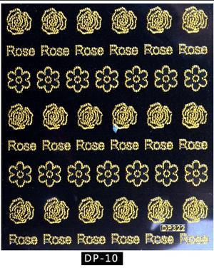 Image of Artlalic 1 Sheet New Vintage Gold Metal Foil Decal DIY Rose Flowers Butterfly Letter Designs Nail Stickers Decorations DP01-16