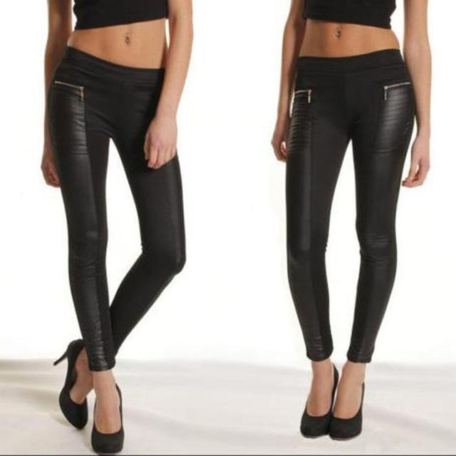 Women's Leather Look Panel High Waist Legging