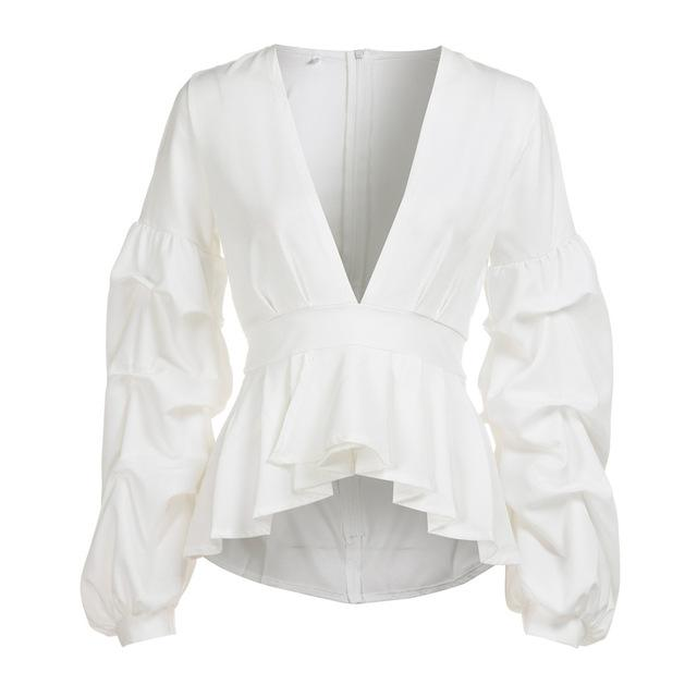 Women's Deep-V-Neck Puff Sleeve Peplum Blouse