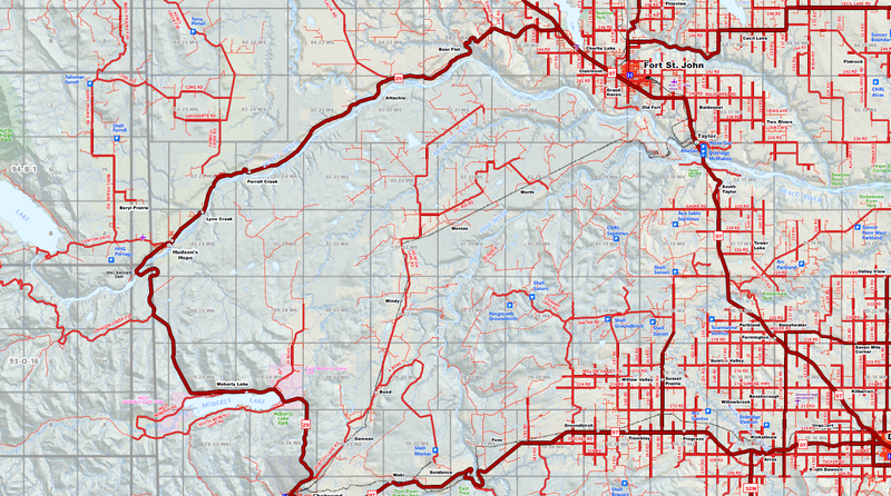 "NE BC / NW Alberta Oilfield Wall Map (1:350K) - 71""W x 90""H"