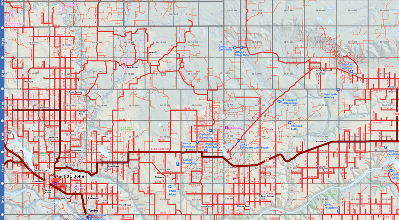 "Grande Prairie Oilfield Road Map (Folded) - 4""W x 9""H"