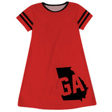 Georgia Big Logo Red Stripes Short Sleeve A Line Dress