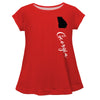 Georgia Red Solid Short Sleeve Girls Laurie Top