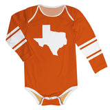 Texas Map Stripes Orange Long Sleeve Onesie - Vive La Fête - Online Apparel Store