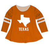 Texas Big Logo Orange Stripes Long Sleeve Girls Laurie Top - Vive La Fête - Online Apparel Store