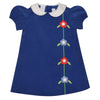 Flowers Applique Navy Corduroy A Line Dress Puffy Short Sleeve - Vive La Fête - Online Children's Apparel