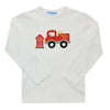 Applique Firetruck Boys White Knit Long Sleeve Tee Shirt - Vive La Fête - Online Apparel Store
