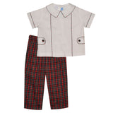 Red and Green Plaid Boys Pant Set Short Sleeve - Vive La Fête - Online Children's Apparel