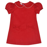 Red Corduroy Girls A Line Short Sleeve Dress - Vive La Fête - Online Apparel Store