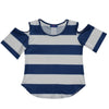 Navy and White Stripes Cold Shoulder Top Short Sleeve - Vive La Fête - Online Apparel Store