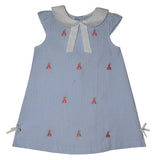 Princess Embroidery Light Blue Big Check Seersucker Girls A Line Dress - Vive La Fête - Online Children's Apparel