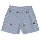 Race Cars Embroidery Light Blue Big Stripe Seersucker Boys Pull On Short - Vive La Fête - Online Apparel Store