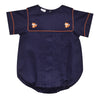 Fox Embroidered Navy Pique Boys Short Sleeve Bubble