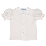 Light Blue Smocked White Solid Girls Short Sleeve Blouse - Vive La Fête - Online Apparel Store