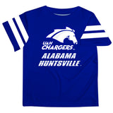 Alabama at Huntsville Chargers Vive La Fete Boys Game Day Blue Short Sleeve Tee with Stripes on Sleeves - Vive La Fête - Online Apparel Store