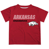 Arkansas Razorbacks Solid Stripped Logo Red Short Sleeve Tee Shirt